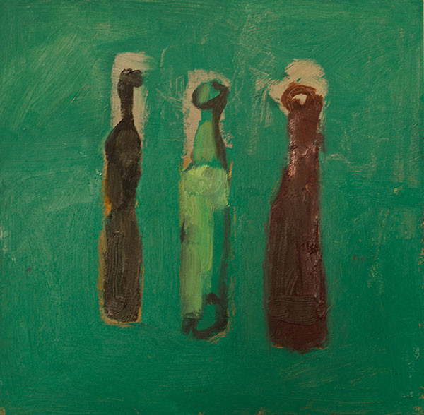 Green still life-bottles 2014